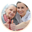 Woman senior with her caregiver